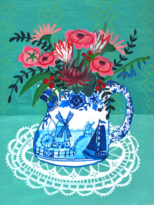 Anita Letuve, Rosa Blumen in Vase (Niederlande, Europa)