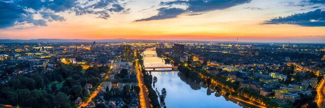 Jan Becke, Panoramic view over Mannheim and Ludwigshafen at sunset (Germany, Europe)