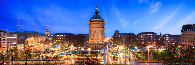 Jan Becke, Christmas Market at the Wasserturm in Mannheim (Germany, Europe)