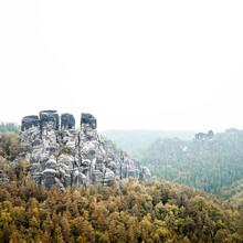 Dennis Wehrmann, Morning fog sandstone mountains saxony (Germany, Europe)