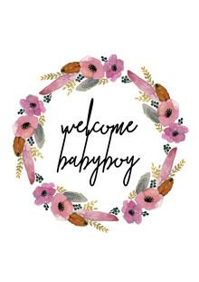 Kinderbild Welcome Babyboy Blumenkranz - fotokunst von Christina Wolff