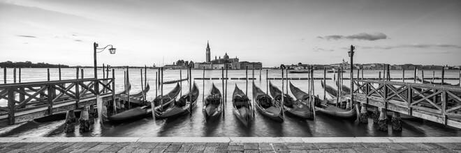Jan Becke, Gondolas on the pier in Venice (Italy, Europe)