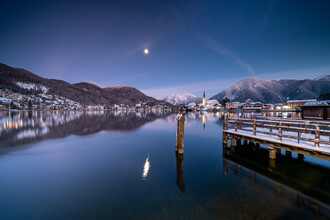 Franz Sussbauer, Moon over lake Tergernsee II (Germany, Europe)