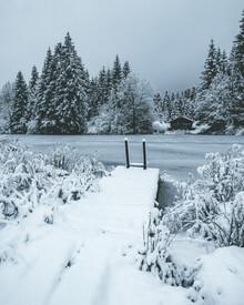 Franz Sussbauer, Badesteg mit Schnee bedeckt (Deutschland, Europa)