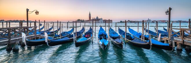 Jan Becke, Gondolas at the pier in Venice (Italy, Europe)