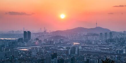 Jan Becke, Seoul Stadtansicht bei Sonnenuntergang (Südkorea, Asien)