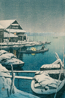 Japanese Vintage Art, Boat on a Snowy Day by Hasui Kawase (Japan, Asien)