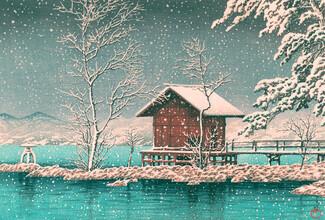 Japanese Vintage Art, Hut at the lake by Hasui Kawase (Japan, Asien)