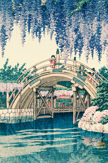 Japanese Vintage Art, Wisteria At Kameido by Hasui Kawase (Japan, Asien)