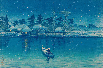 Japanese Vintage Art, Snow at Mukojima by Kawase Hasui (Japan, Asien)