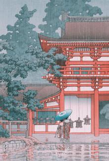 Japanese Vintage Art, Rain at Shiba Zojo Temple by Hasui Kawase (Japan, Asia)