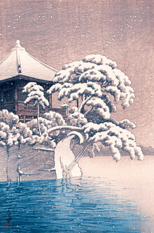 Japanese Vintage Art, Japanese Temple In A Snowy Winter by Kawase Hasui (Japan, Asia)