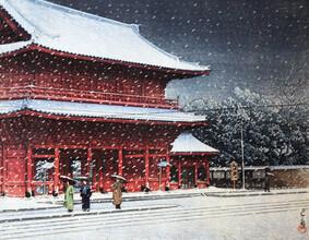 Japanese Vintage Art, Snow Shiba Zojo Temple by Hasui Kawase (Japan, Asia)