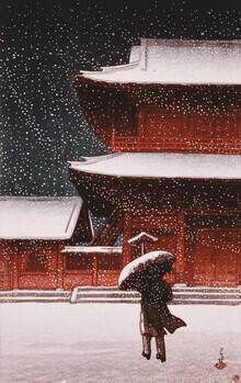 Japanese Vintage Art, Shiba Zojo Temple in Snow by Hasui Kawase (Japan, Asia)
