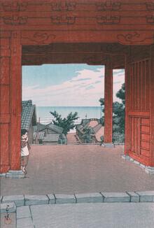 Japanese Vintage Art, Tamon Temple At Hamahagi In Boshu by Hasui Kawase (Japan, Asia)