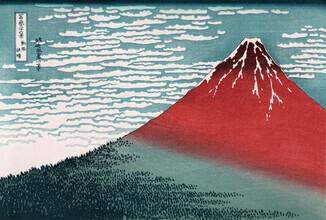 Japanese Vintage Art, Glowing Mount Fuji by Katsushika Hokusai (Japan, Asia)