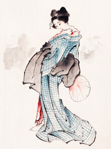 Japanese Vintage Art, Woman in Kimono by Katsushika Hokusai (Japan, Asia)