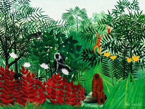 Art Classics, Tropical Forest with Monkeys by Henri Rousseau (Germany, Europe)