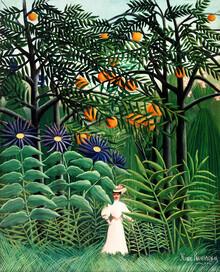 Art Classics, Spazierende Frau in einem exotischen Wald von Henri Rousseau (Deutschland, Europa)
