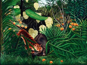 Art Classics, Fight between a Tiger and a Buffalo by Henri Rousseau (Germany, Europe)