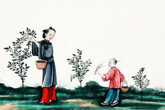 Vintage Collection, Chinese painting illustrating a mother and a son plucking tea sprouts (Germany, Europe)
