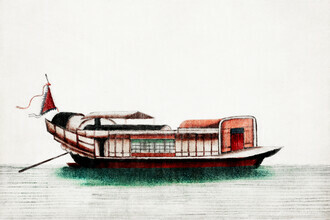 Vintage Collection, Chinese painting of a junk (Germany, Europe)
