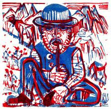 Art Classics, Rauchender Bauer von Ernst Ludwig Kirchner (Deutschland, Europa)