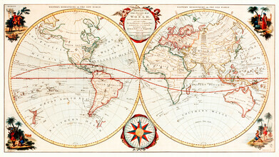 Vintage Nature Graphics, Bowles's new and accurate map of the world, or Terrestrial globe (Großbritannien, Europa)