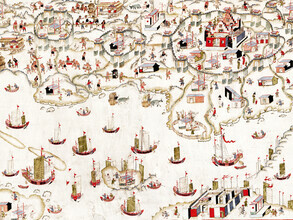 Vintage Nature Graphics, Unbekanntes niederländisches Schloss Qing in Tainan - 清 佚名 台南地區荷蘭城堡 (China, Asien)