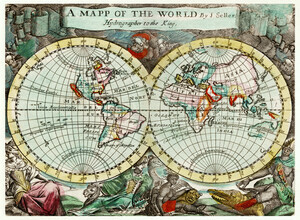 Vintage Nature Graphics, A Mapp of the World (Großbritannien, Europa)