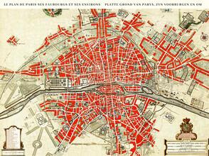Vintage Nature Graphics, Le Plan de Paris, ses Faubourgs et ses Environs / Platte Grond van Par (Frankreich, Europa)