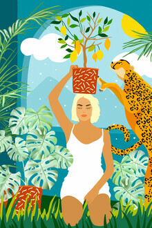 Uma Gokhale, Bring The Jungle Home Illustration, Tropical Cheetah Wild Cat & Woman Painting (India, Asia)