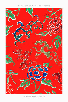 Japanese Vintage Art, Flower Pattern by Watanabe Seitei 1893 (Japan, Asia)