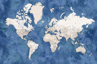 Rosana Laiz García, Detailed world map with cities Sabeen (South Africa, Africa)