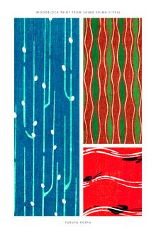 Japanese Vintage Art, Blau-rot-grüner Furuya Korin Druck aus Shima-Shima (Deutschland, Europa)