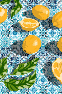 Uma Gokhale, Tropical Lemon Tiles Painting (India, Asia)